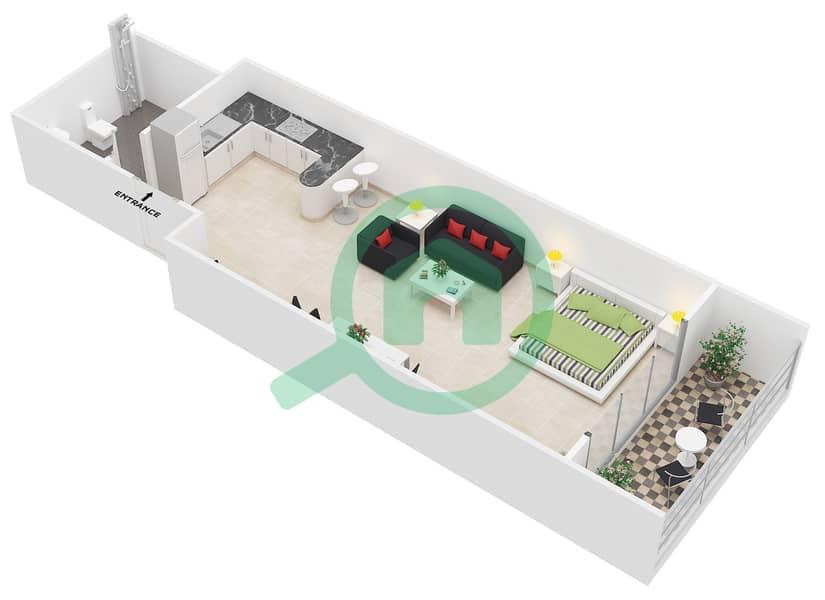 المخططات الطابقية لتصميم التصميم A شقة  - جوفاني بوتيك سويتس image3D