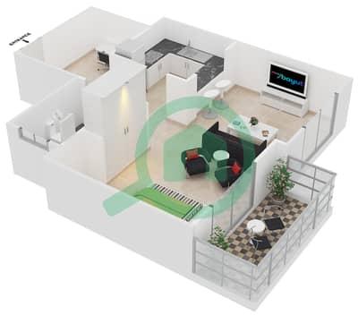 Cricket Tower - Studio Apartment Type C Floor plan