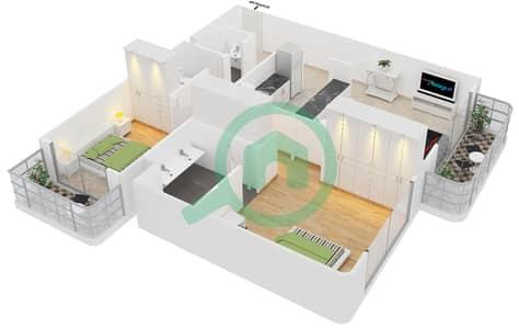 Cricket Tower - 2 Bedroom Apartment Type A2 Floor plan