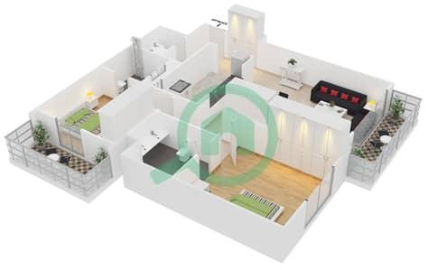 Cricket Tower - 2 Bedroom Apartment Type A1 Floor plan