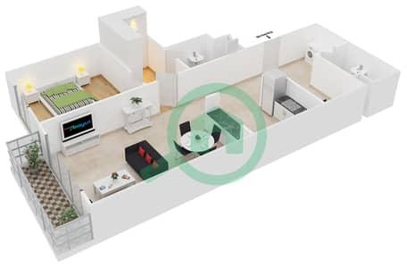 Cricket Tower - 1 Bedroom Apartment Type E Floor plan