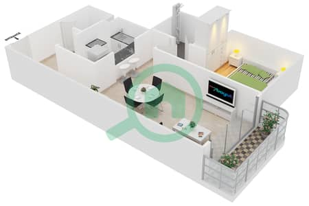 Cricket Tower - 1 Bedroom Apartment Type D Floor plan