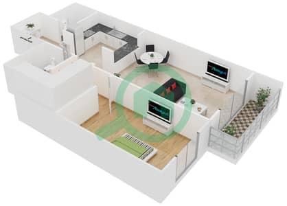 Cricket Tower - 1 Bedroom Apartment Type B Floor plan