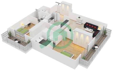 Cricket Tower - 2 Bedroom Apartment Type A Floor plan