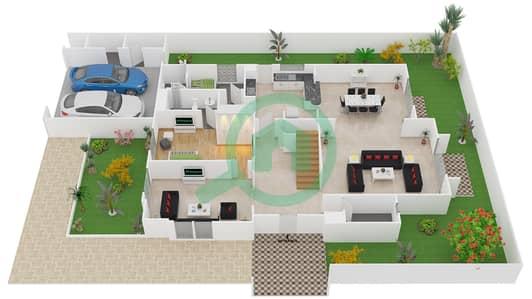 المخططات الطابقية لتصميم النموذج 1 فیلا 5 غرف نوم - فلل برايم