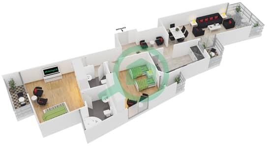 المخططات الطابقية لتصميم النموذج 8 شقة 2 غرفة نوم - برج يوني استايت الرياضي