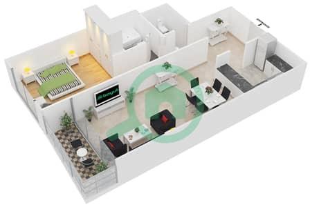 المخططات الطابقية لتصميم النموذج 11 شقة 1 غرفة نوم - برج يوني استايت الرياضي