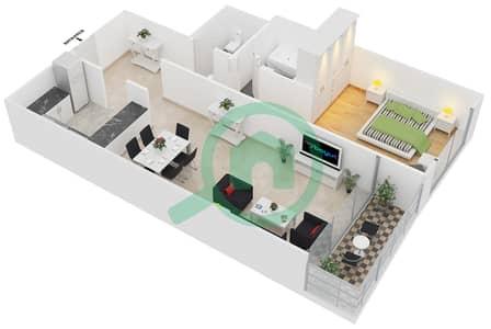 المخططات الطابقية لتصميم النموذج 10 شقة 1 غرفة نوم - برج يوني استايت الرياضي