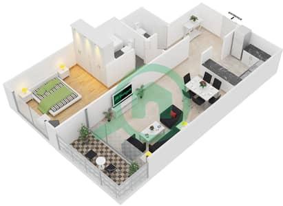 المخططات الطابقية لتصميم النموذج 6 شقة 1 غرفة نوم - برج يوني استايت الرياضي