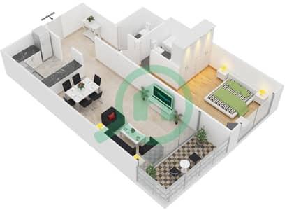 المخططات الطابقية لتصميم النموذج 5 شقة 1 غرفة نوم - برج يوني استايت الرياضي