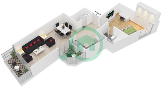 المخططات الطابقية لتصميم النموذج 2 شقة 1 غرفة نوم - برج يوني استايت الرياضي