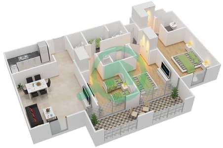 مساكن جايد - 3 غرف شقق اكتب F-H مخطط الطابق