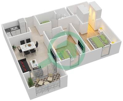 مساكن جايد - 2 غرفة شقق اكتب E مخطط الطابق