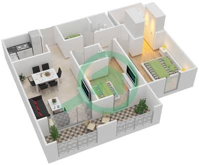 مساكن جايد - 2 غرفة شقق اكتب D مخطط الطابق