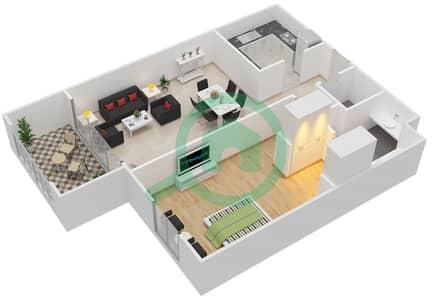 مساكن جايد - 1 غرفة شقق اكتب A-C مخطط الطابق