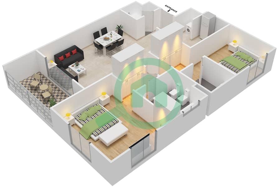 Floor plans for Type L2 2-bedroom Apartments in Al Dar Tower | Bayut