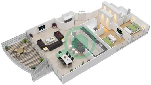 The Jewels - 2 Bedroom Apartment Type OPAL Floor plan