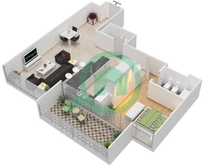 The Jewels - 1 Bedroom Apartment Type AGATE Floor plan
