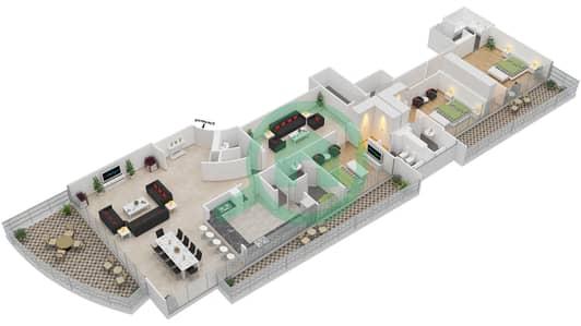 The Jewels - 3 Bedroom Apartment Type TOPAZ Floor plan