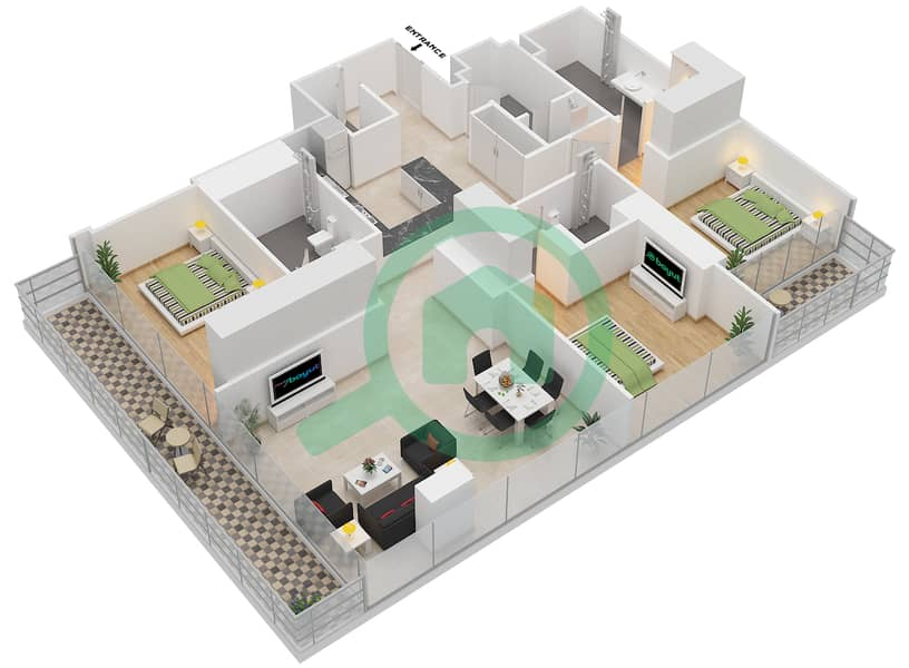 Floor plans for Type 3D 3-bedroom Apartments in Marina Gate 1 ...