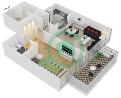 Bayside Residence - 1 Bed Apartments type 04 Floor plan