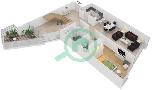 Bayside Residence - 3 Beds Apartments type 4 Duplex Floor plan