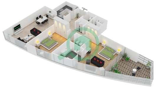 Bayside Residence - 2 Beds Apartments type 05 Floor plan