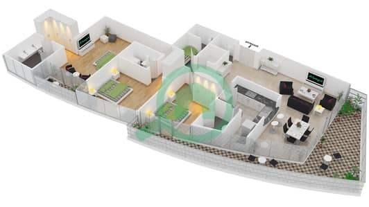 Bayside Residence - 3 Beds Apartments type 02 Floor plan