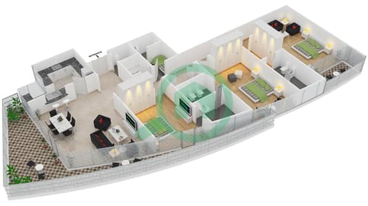 Bayside Residence - 3 Beds Apartments type 01 Floor plan