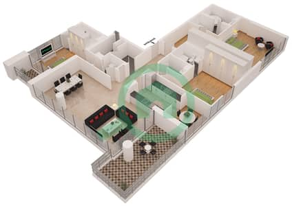 Al Sahab Tower 2 - 3 Bedroom Penthouse Suite PH 01 Floor plan
