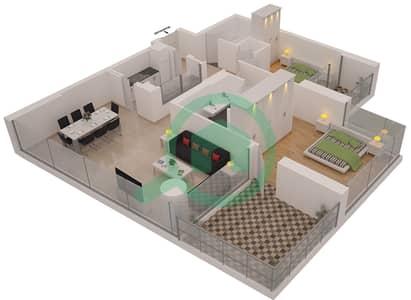 Al Sahab Tower 2 - 2 Bedroom Apartment Suite 06 Floor plan