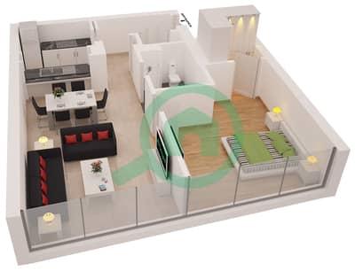 Al Sahab Tower 2 - 1 Bedroom Apartment Suite 05 Floor plan
