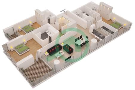 Al Sahab Tower 2 - 3 Bedroom Apartment Suite 04 Floor plan