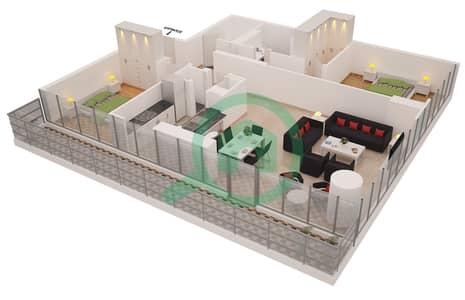 Al Sahab Tower 2 - 2 Bedroom Apartment Suite 03 Floor plan