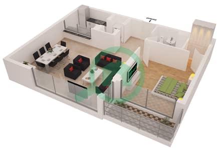 Al Sahab Tower 2 - 1 Bedroom Apartment Suite 02 Floor plan