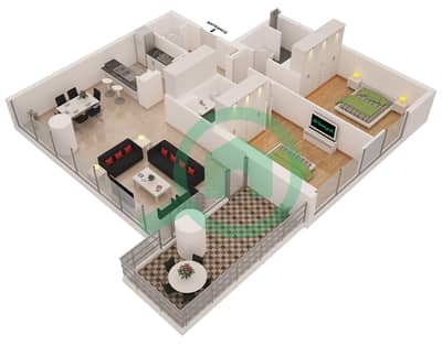 Al Sahab Tower 2 - 2 Bedroom Apartment Suite 01 B Floor plan