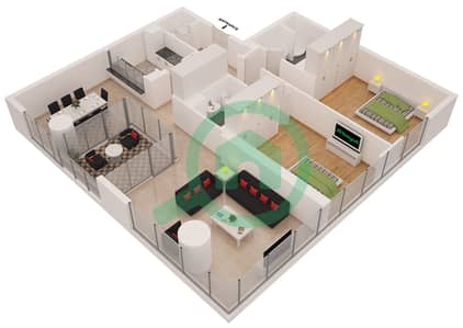 Al Sahab Tower 2 - 2 Bedroom Apartment Suite 01 A Floor plan