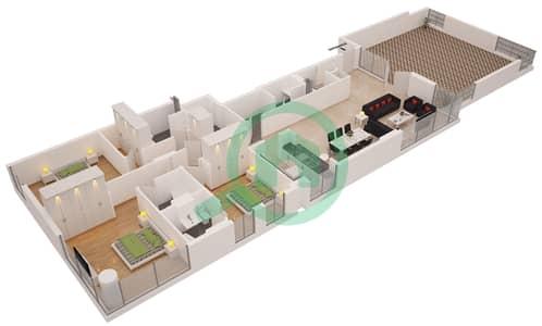Al Sahab Tower 1 - 3 Bedroom Penthouse Suite PH 2A PENTHOUSE 22 Floor plan
