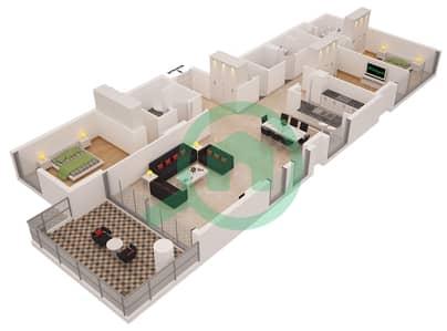 Al Sahab Tower 1 - 3 Bedroom Apartment Suite 04 B FLOOR 6-21 Floor plan