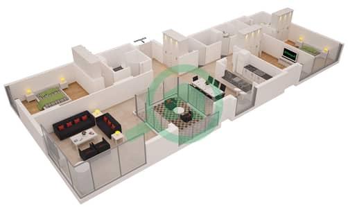 Al Sahab Tower 1 - 3 Bedroom Apartment Suite 04 A FLOOR 4-20 Floor plan