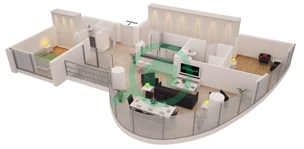 Al Sahab Tower 1 - 2 Bedroom Apartment Suite 01FLOOR 4-21 Floor plan