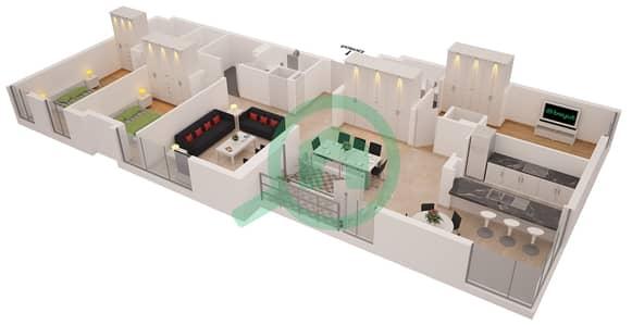 Al Sahab Tower 1 - 3 Bedroom Apartment Suite 05 A FLOOR 3 Floor plan