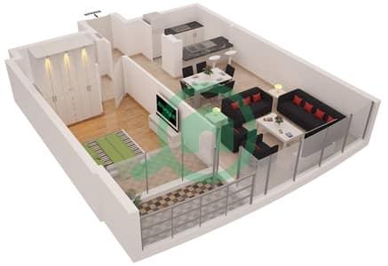 Al Sahab Tower 1 - 1 Bedroom Apartment Suite 02 FLOOR 3 Floor plan