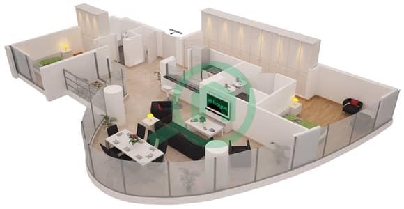 Al Sahab Tower 1 - 2 Bedroom Apartment Suite 01 FLOOR 3 Floor plan