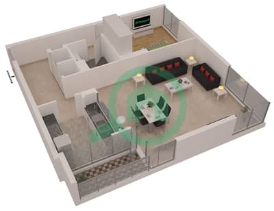 Al Sahab Tower 1 - 1 Bedroom Apartment Suite 05 FLOOR 2 Floor plan
