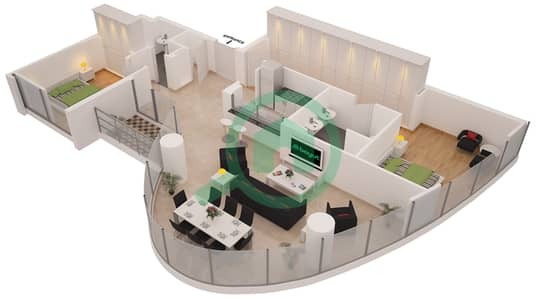 Al Sahab Tower 1 - 2 Bedroom Apartment Suite 1 Floor plan