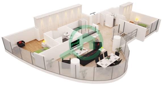 Al Sahab Tower 1 - 2 Bedroom Apartment Suite 3 Floor plan