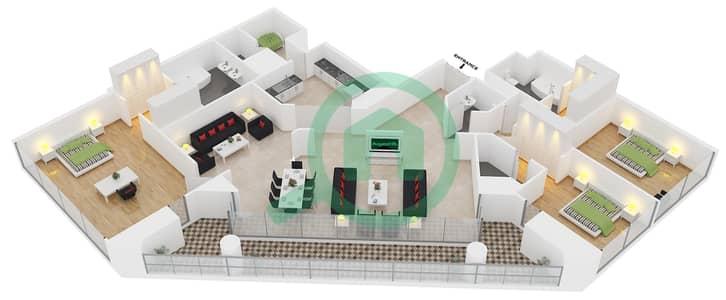 23 Marina - 3 Bedroom Apartment Unit 2 FLOOR 35-58 Floor plan