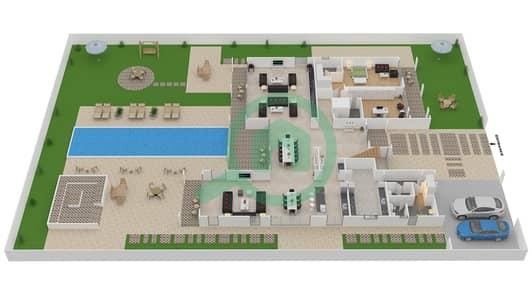 المخططات الطابقية لتصميم النموذج B3 CLASSIC فیلا 6 غرف نوم - باركوايز دبي هيلز