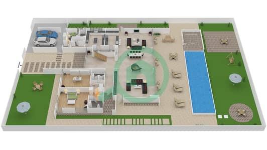 المخططات الطابقية لتصميم النموذج B1 فیلا 6 غرف نوم - باركوايز دبي هيلز